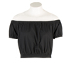 Women's Off Shoulder Cute Brief Ruffles Girl's Midriff Low Back Short Black Sexy Blouse