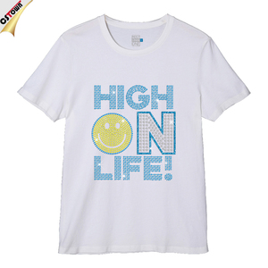 Shining Smile Life Blue Letters Iron on Crystal Pattern Shirt
