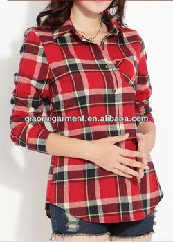 stylish hot selling brushed keep warm check/plaid casual shirts for women/ladies with pointed collar and one pocket
