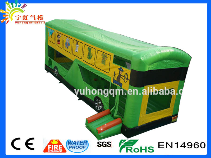 Green color public routemaster bounce bouncy slide house bus promotion inflatable