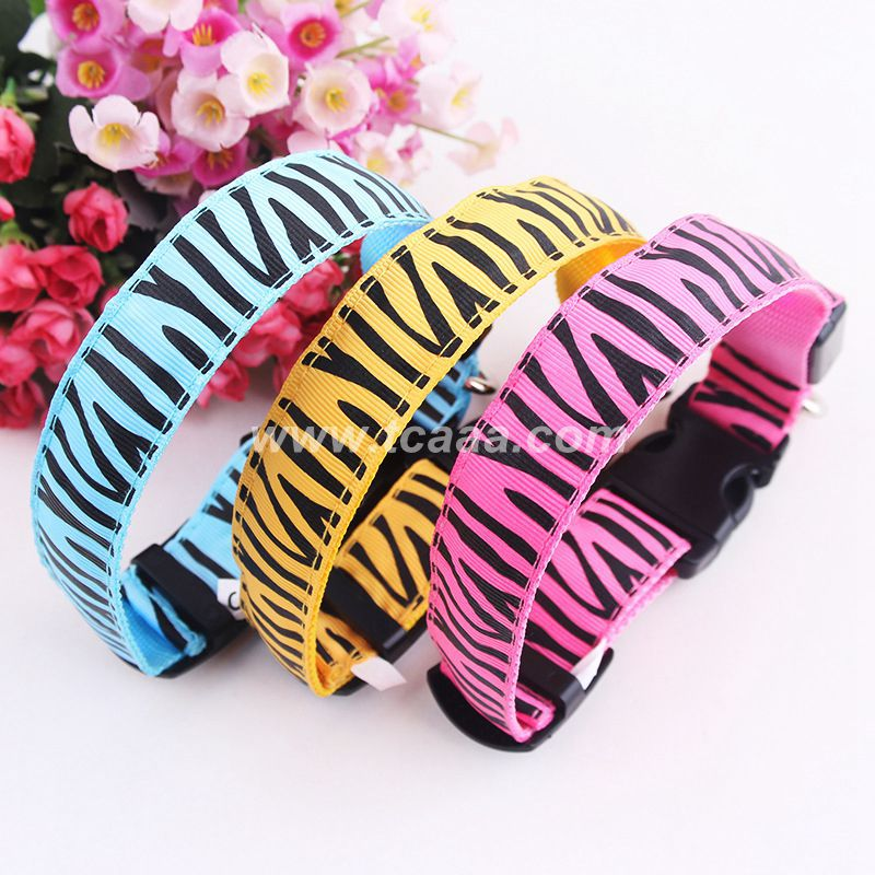 2015 hot sale zebra-stripe led dog collar ,import pet animal products from china