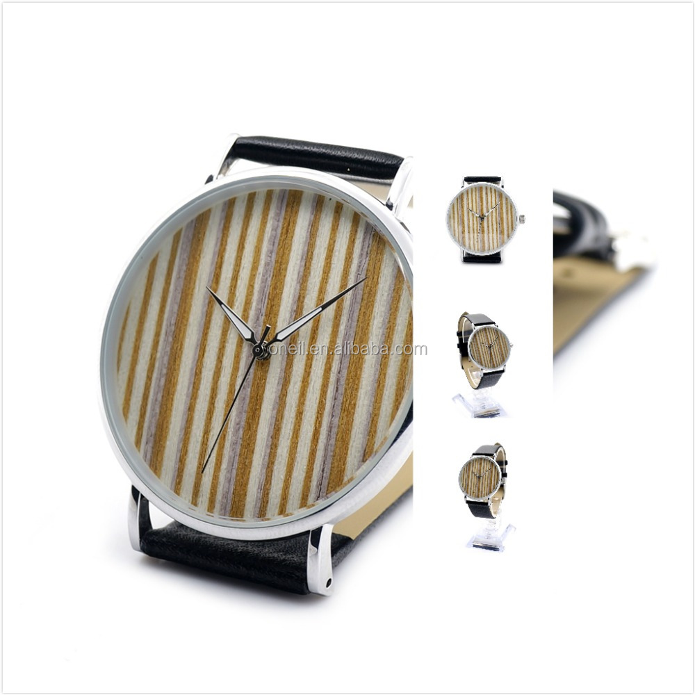 High quanlity bamboo stainless steel back and leather wrist watch custom logo watch 2017 new products