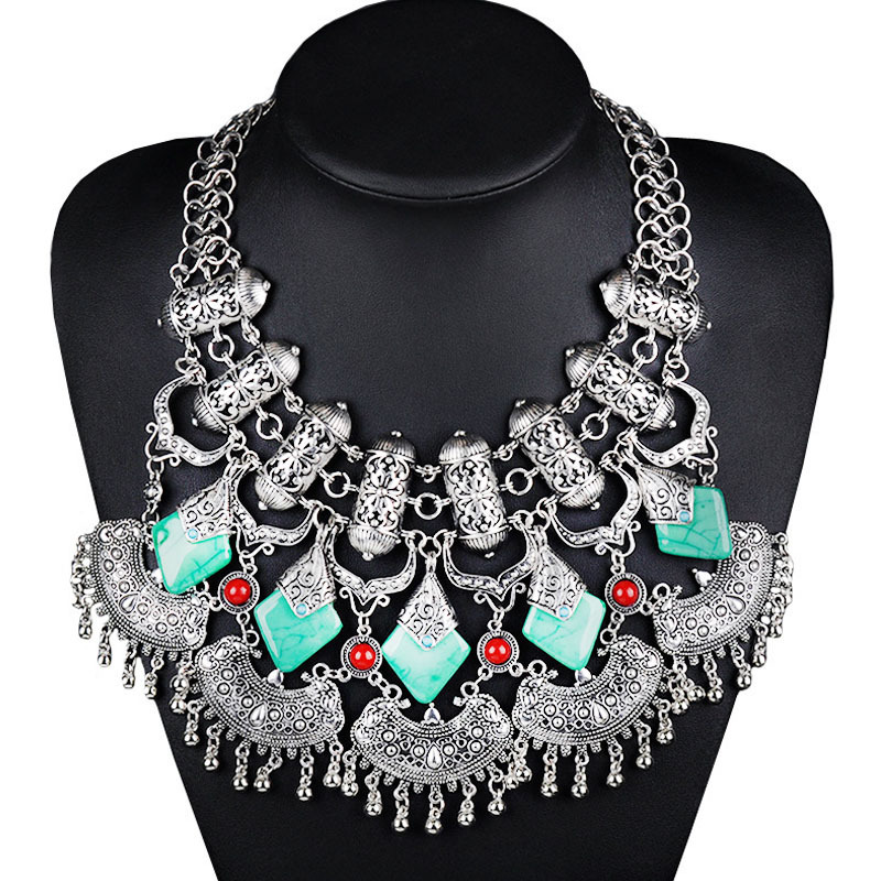 W9826 Exaggeration necklace drop shape crystal necklace Clothing Accessories