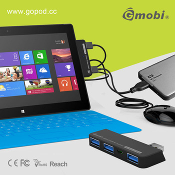 Ultra-slim Gmobi 4 Port USB 3.0 HUB+Card Reader Exclusive For Surface 2/Pro 2