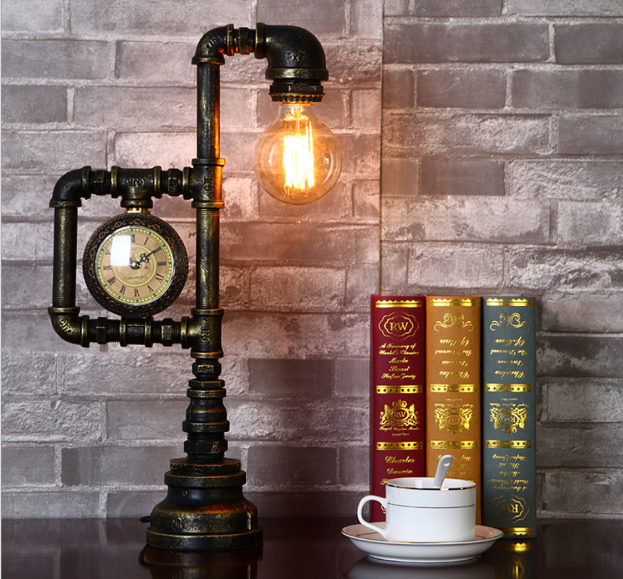 Water Pipe Retro Loft <strong>Lamp</strong> Vintage Metal <strong>Lamp</strong> Artistic Clock Table <strong>Lamp</strong>
