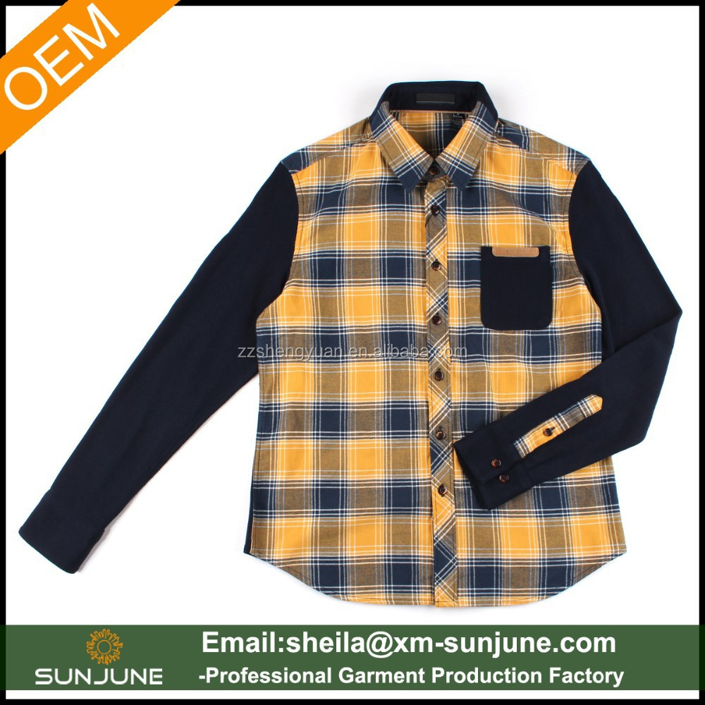 New fashion kniting pique back and yellow men's check woven shirts