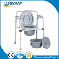 Steel folding patients toilet commode chair with bedpan