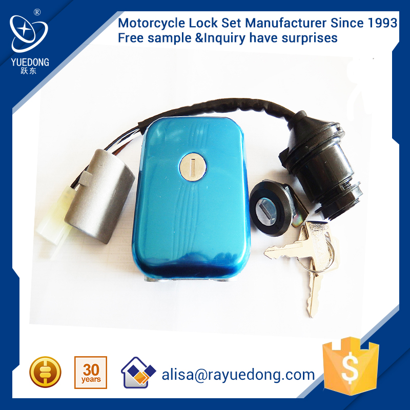 YUEDONG Direct Factory BAJAJ parts BM100 motorcycle parts lock set,igniton switch, fuel tank cap with high quality