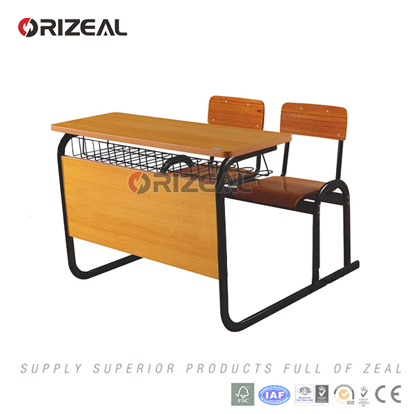orizeal one piece double primary school classroom furniture for students table and chair
