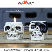 Wholesale Factory Manufacture Resin Halloween decoration Skull candle holder