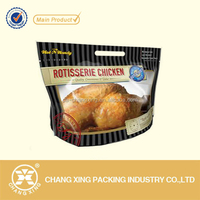 printed plastic laminated bag for roast chicken with clear window