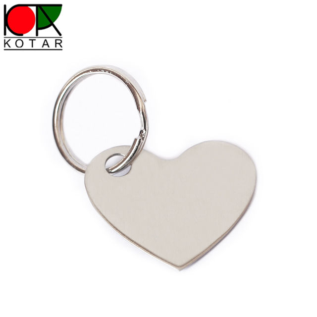 custom hear shape stainless photo etched key tag