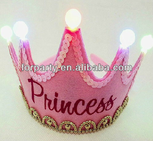 HBN-1440 Happy birthday princess party crown with LED light