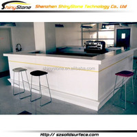 Designer white L-shape solid surface/man-made stone free standing home bars