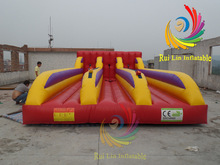 intriguing inflatable sport Plato pvc 3 Lane Bungee Run