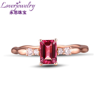 Natural Pink Tourmaline Ring With Diamond In18Kt Rose Gold Wedding Ring Natural Gemstone Jewelry WU269