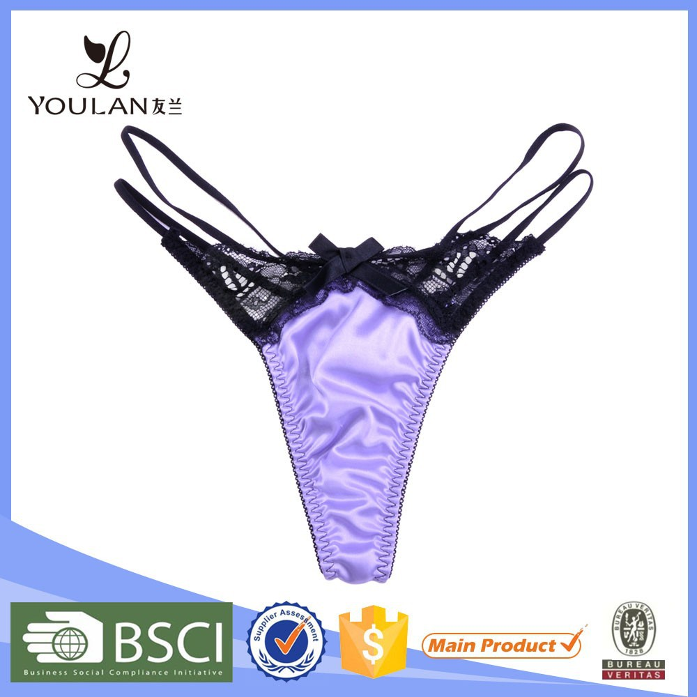 Mature women Black Bowknot T-Back Underwear Sexy G-String