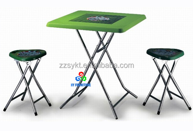 High quality customerized pvc printing folding table and stools with adjustable metal leg