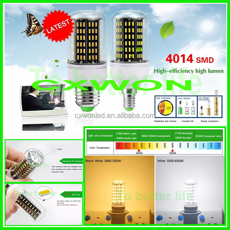 New bulb led chandelier light AC85-265V high lumen SMD 4014 6W 7W 9W 12W 15W LED Corn light bulbsled corn bulb e27