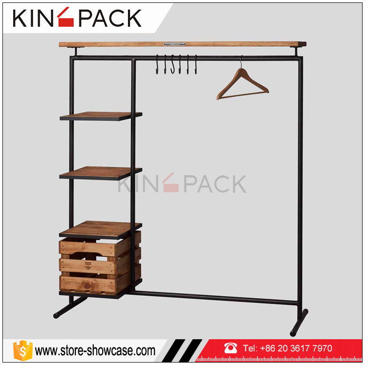 Simple style cheap wood with mental clothing display racks stand for clothes <strong>retail</strong> store fixtures for sale