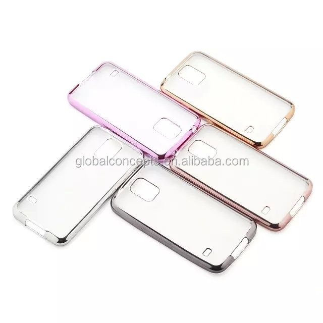 New&Hot Sale High Quality! Electroplate Transparent Soft TPU Case Cover For Samsung Galaxy S5 G9006