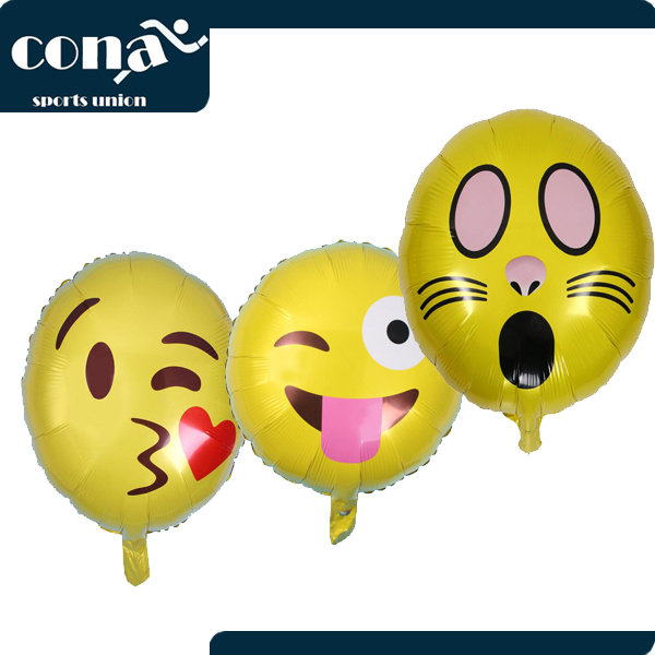 2017 Set of 16 Pack Emoji Balloon Mylar Foil 18 Inch Helium Reusable Ballons For Congratulation Decoration Anniversary Festival