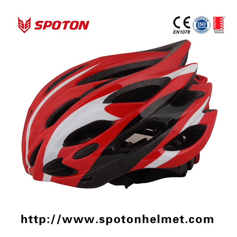 Bicycle Helmet Red Carbon Fiber Parts Strong With 24 Vent Holes , Adjustable Strap