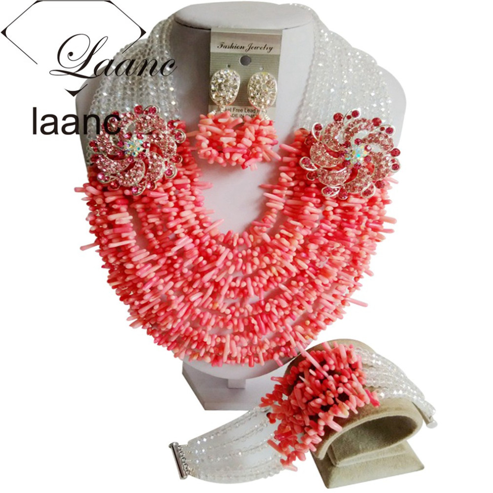 Necklace Earring Bracelet Jewelry Sets Nigerian Coral Beads Necklace and Crystal Ten Layers Jewelry Sets ACL001