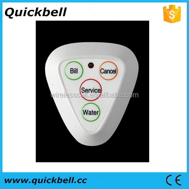 Wireless Manufacturer of call bell button restaurant waiter caller 4-key Table bell guest calling button