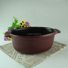 Big capacity round black stoneware cooking pot with handle