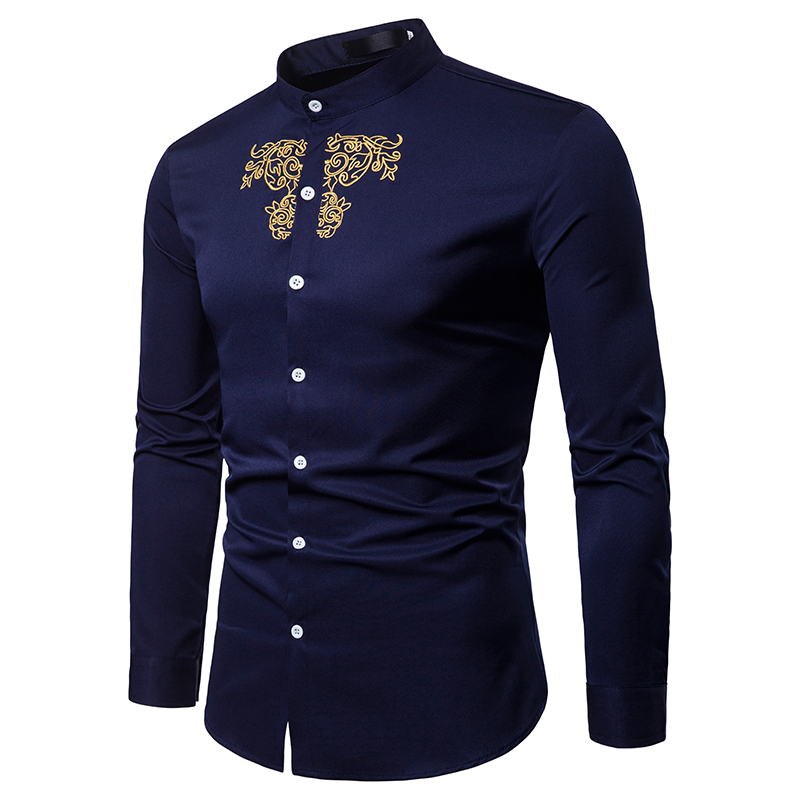 2018 new casual mens long sleeve dobby embroidered navy shirts