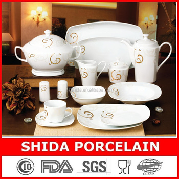 121pcs round porcelain /ceramic chinese tableware with gold
