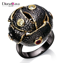 African Look Big Statement Ball Shape Party Style Gun Black Plated Zircon Deluxe Ring