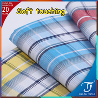 Shirt fabric yarn dyed check pattern 65% polyester 35% cotton poplin fabric check polyester cotton fabric