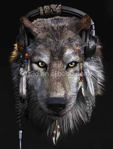 Visual effect 3D lenticular printing with rock and cool wolf picture