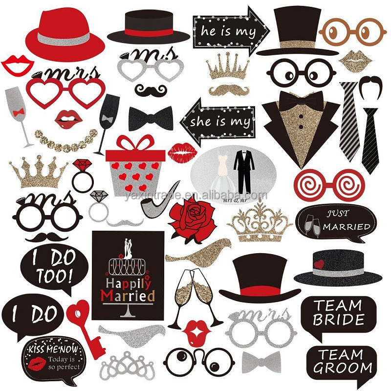 I DO Mr Mrs Just Married Funny Sparkling Bridal Shower Event Party Supplies Bride Groom Wedding Photo Booth Props