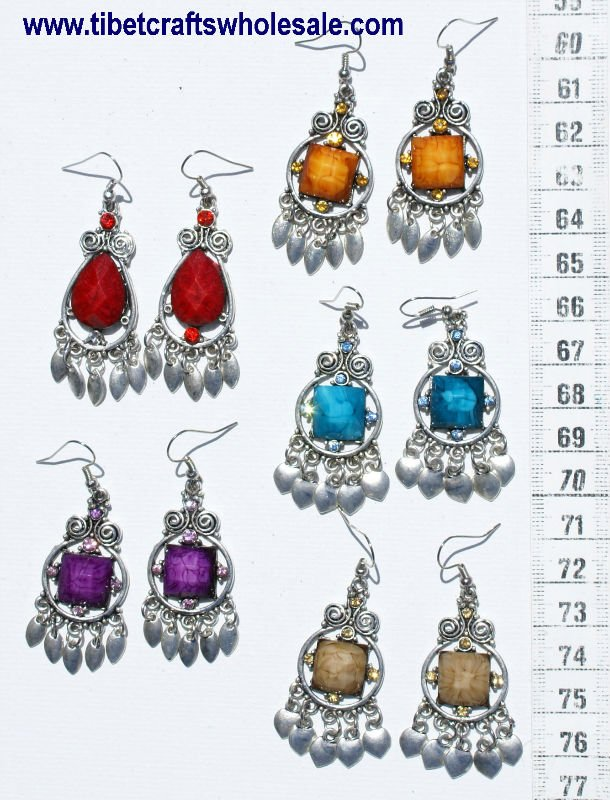 Earrings with Color Crystals Ethnic Tibetan Wholesale Fashion Costume Jewelry