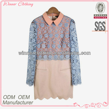 Latest fashion autumn winter lace overlay korean office dress for women