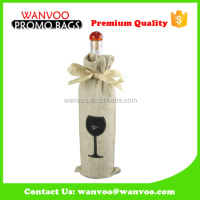 cotton wine bottle bag drawstring custom silk screen