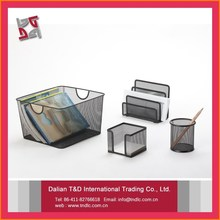 B8518 Decorative Metal Customized Office Mesh Stationery Set Desk Organizer