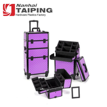 Professional Purple Diamond Beauty Trolley Rolling Cosmetic Organizer Case with Wheels