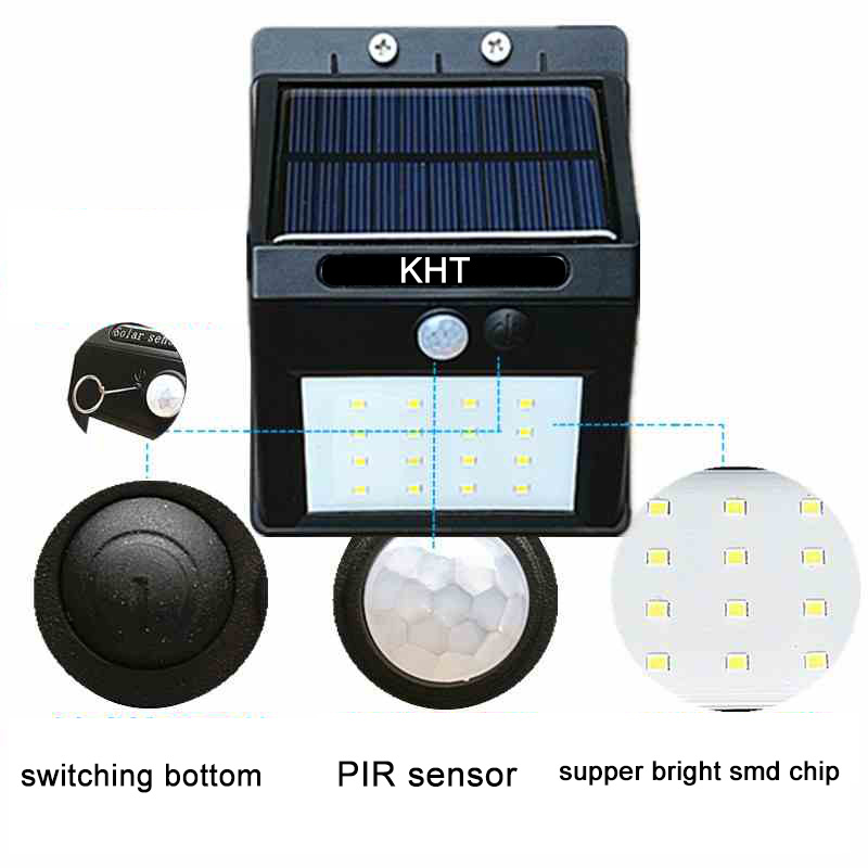 CE and factory price 1w 20 pcs smd chip ip65 3.7v solar charger PIR wall light
