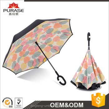 Hot selling new invention umbrella and upside down umbrella with C handle reverse umbrella