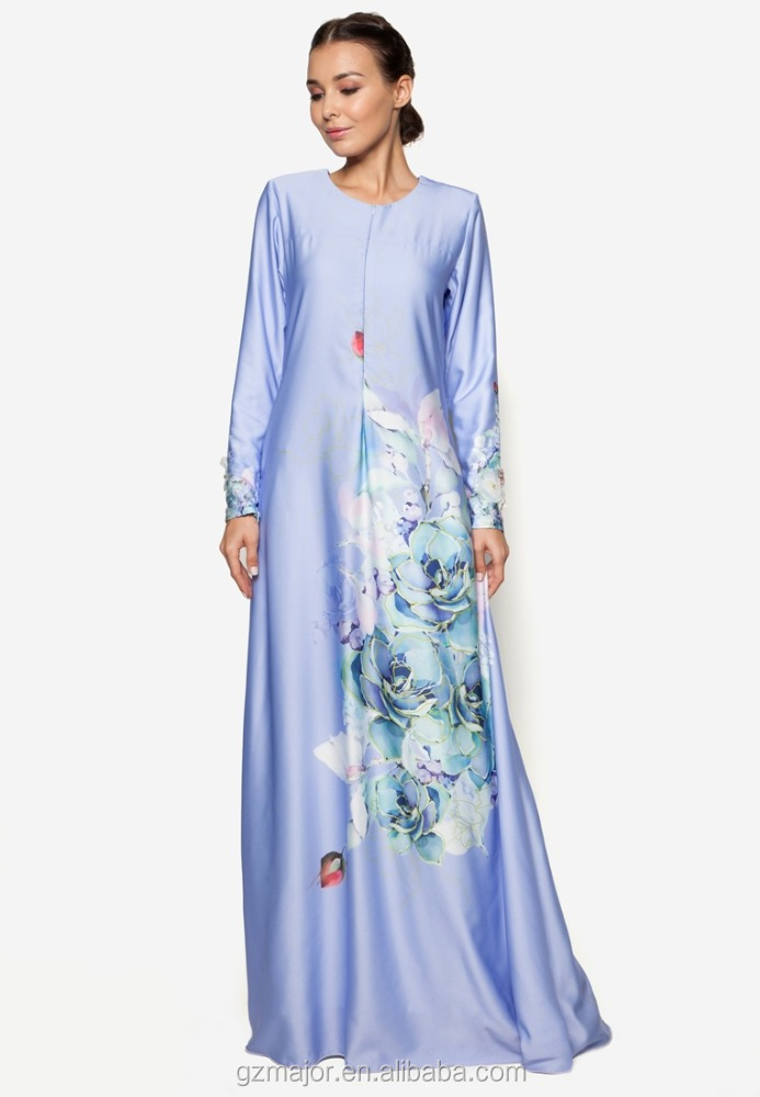 New model front hidden zipper fashion maxi dress muslimah jubah 2016 fashion digital printing jubah