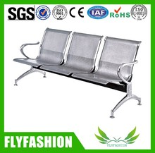 Public stainless steel three seater waiting chairs