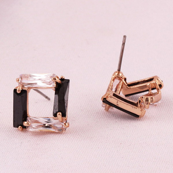 Newest rose gold plated jewelry black onyx stud earrings