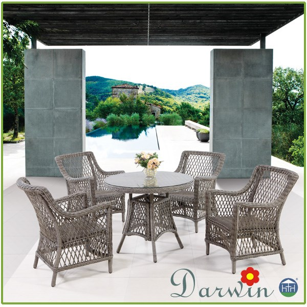Baroque round glass dining table and 4 chairs sets buy for Baroque dining table set