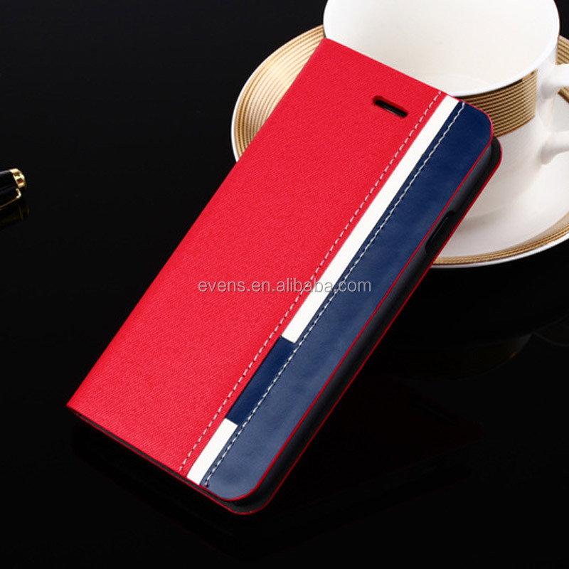 Contrast color Fashion PU Leather Wallet Flip Mobile Phone Case Cover For Nokia 300