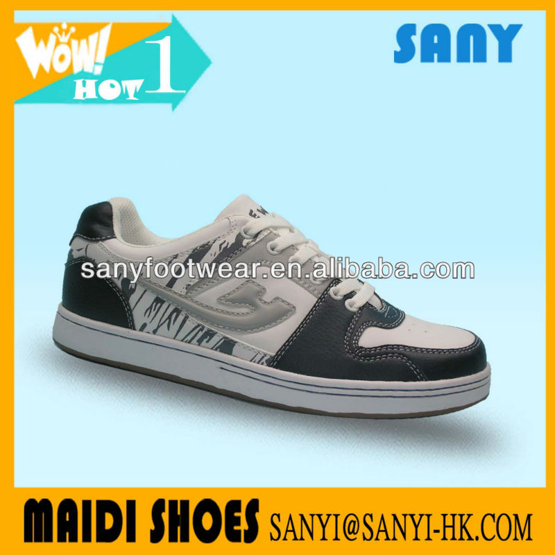 Latest Model--Fashionable Men's White/black Street skate Shoes with Durable Sole