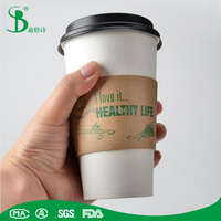 TheBest 8 12 16 oz paper coffee cup with lid with sleeve
